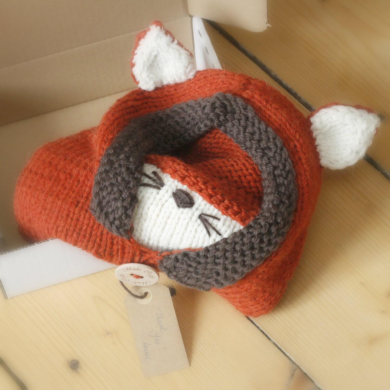 Knitting Pattern Fox Hood : Sale Knit fox hood cowl Rene PDF knitting pattern in