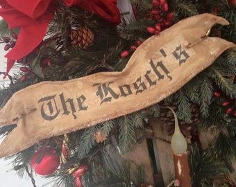 Personilized Christmas Holiday Wreath Banner