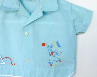 Vintage 70's Infant Boys Blue Sailor Boy Diaper Shirt    0-3 Months
