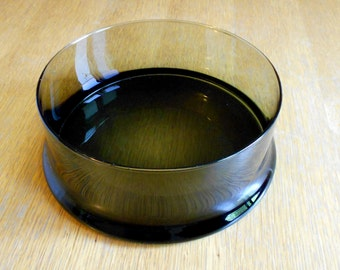 Vintage Smoke Glass Salad Bowl