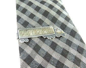 Tractor Trailer Truck Tie Bar- Truck Tie Pin- Sterling Silver Or Antiqued Brass Finish- Semi Truck