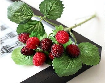Artificial fruit berries one branch (9 strawberries) home decor decoration flower red paddle strawberry plant