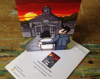 """Greetings card """"The First Of The Gang To Die"""" - 21 x 15cm, w/envelope, in plastic wallet"""