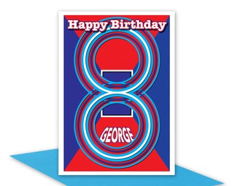 Greeting card, 8th birthday card, Edit name, Happy Birthday card for boy son nephew brother personalised name 8 birthday card blue red