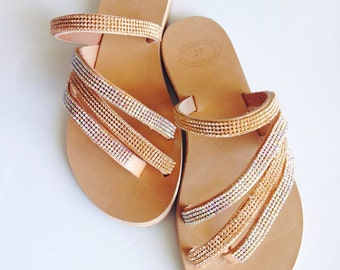 Gold strass leather sandals
