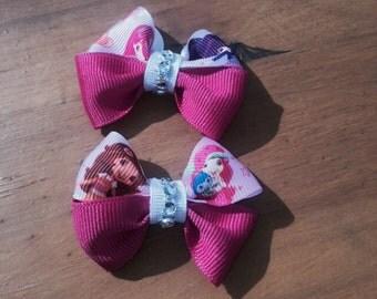 Mini strawberry shortcake hair clips