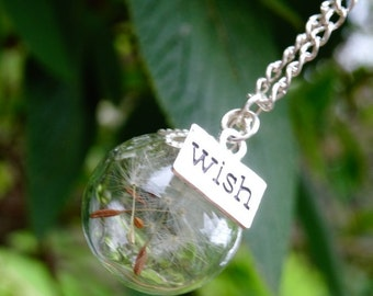 Dandelion wish necklace! Glass dandelion necklace!