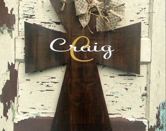 Wooden cross door hanger, cross door hanger, personalized door hanger