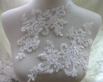 Off white lace applique, bridal veils applique, wedding lace applique, sewing appliques one pair