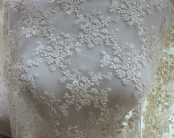 "51"" wide Ivory lace fabric, floral lace fabric, bridal dress fabric, embroidery lace fabric by the yard"