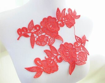 One pair Red Lace Applique for Bridal, Wedding Applique, Headband, Lace Jewelry