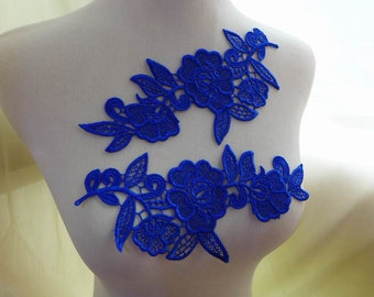 One pair Royal Blue Lace Applique for Wedding Applique, Headband, Dresses, Lace Jewelry