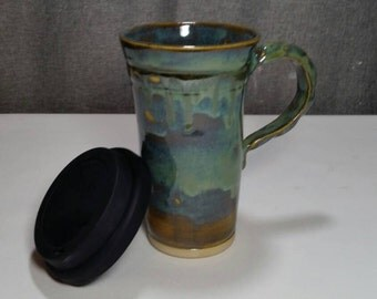 Made to Order(Up to 3 weeks)**Ceramic Travel mug / Commuter mug with silicone lid - Olive Blue