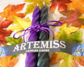 Halloween Spiral Tapers Candles-Ritual Candles-Samhain-2 pack-