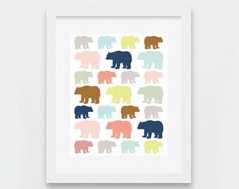 Bears Nursery Art, Unisex Baby Digital Art Print, Gender Neutral Wall Art, Printable Nursery Art, Scandinavian Nursery, Colorful Bears Print