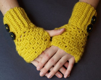 SALE! Crochet Fingerless gloves in Mustard