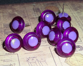 Plastic big hole bead Push Pins - Purple
