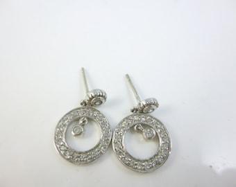 Circle Earrings, Sterling Silver CZ Earrings, Post Earrings, Hanging Earrings, Dainty Earrings
