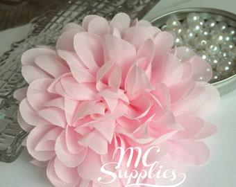 Pink chiffon flower applique,chic flower applique,headband flower,hair clip flower,wedding flower,baby headbands flower,bouquets flower,141