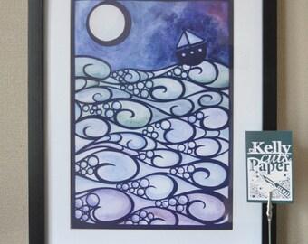 Moonlight Sailing papercut: A4 Giclee Print