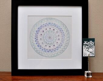 Frozen Mandala papercut : square Giclee Print