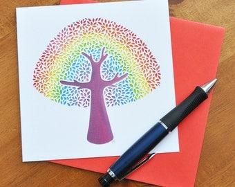 Rainbow Tree (Bright) papercut print card