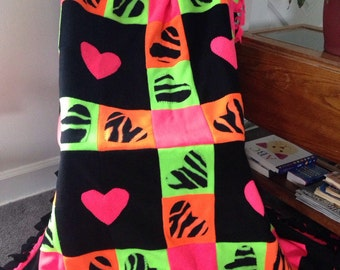 Neon Hearts Fleece Blanket
