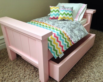 "American Girl Bed. Wood 18"" Doll Farmhouse trundle bed -Pink"