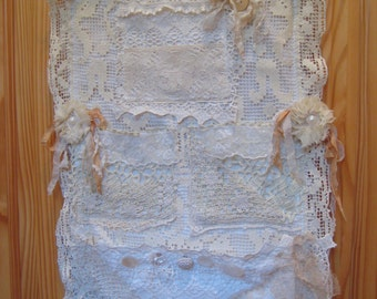 Shabby Chic Hanging Fabric Organizer, Vintage Doily and Lace Organizer