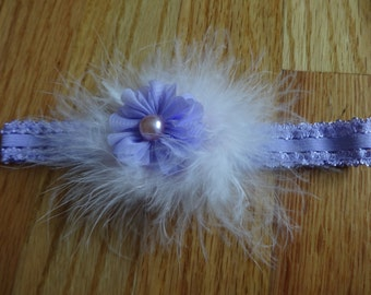 Adorable Purple Feather and Flower Headband with Pearl Accent