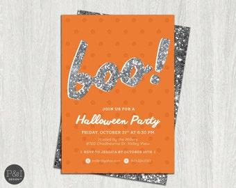 Kids Halloween Party Invitation   BOO Invitation   Customized Printable/ 5x7