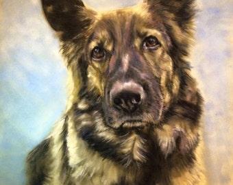 Pet Portrait Memorial custom pastel portrait from photograph large 16 x 20 inch pet portrait