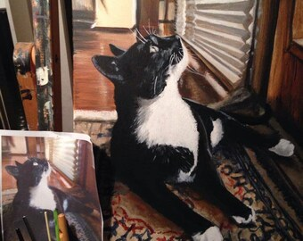"Cat Portrait hand painted from photograph 14 "" x 18"" commission me for Christmas"