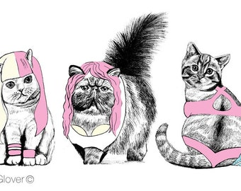 PINK CATS PRINT