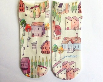 VILLAGE printed socks - Hand painted design