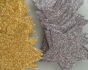 20x 6.5cm Gold or Silver Glitter Star die cuts, Christmas Stars