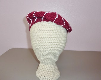 Raspberry and White Beaded Beret Hat Adult size