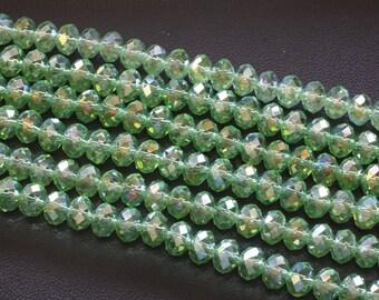 8x6MM Light Green AB Glass Crystal Beads