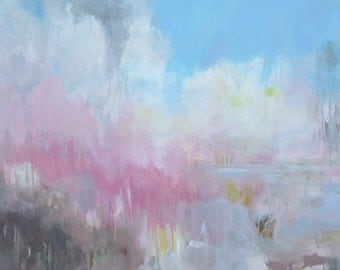 """Abstract Painting Mixed Media on Canvas 36""""x36"""" - Landscape painting, colourful."""