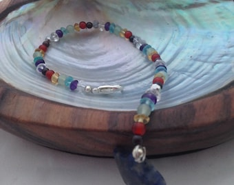 Gemstone Chakra Bracelet with Sodalite Star