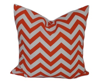 Outdoor pillow cover, Orange outdoor pillow, Decorative pillow, Throw pillow, Chevron pillow, Cushion, 12x16, 12x20, 16x16, 18x18, 20x20