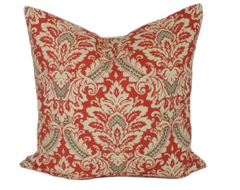 Coral pillow cover, 18x18, Coral throw pillow, Decorative pillow, Accent pillow, Couch cushion, Sofa pillow, Toss pillow, Damask pillow