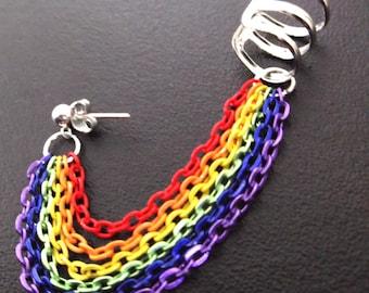 Rainbow Gay Pride chained ear cuff earring
