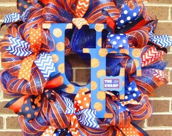 University of Florida Wreath, Florida Door Wreath, Florida College Wreath, Football Door Wreath,Football Mesh Wreath,