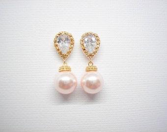 SALE - Bridal Elegant Yellow Gold Swarovski Blush Pink Pearl Cubic zirconia Earrings Vintage Classic Wedding Bridesmaids