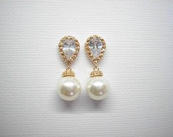 Pearl and Yellow Gold Bridal Earrings Swarovski White or Cream Pearls Vintage Wedding Teardrop Bridesmaids