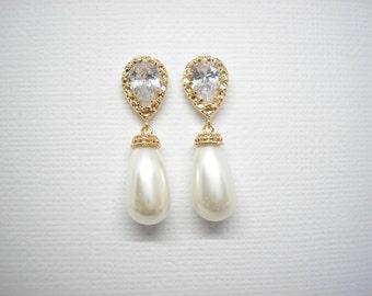 ON SALE - Yellow Gold and Swarovski Teardrop Pearl Bridal Earrings White Ivory Pearls Vintage Wedding Teardrop Bridesmaids