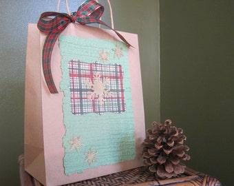 Green and Plaid Christmas Gift Bag, Holiday Gift Bag, Handmade