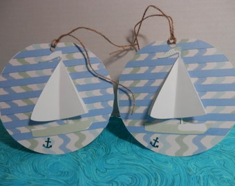 NAUTICAL GIFT TAGS, Set of 2 Sailboat Gift Tags, Beach Wedding Gift Tag, Birthday Gift Tags, Hanging Gift Tags,