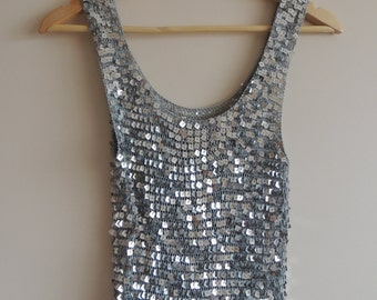 Vintage SILVER sequins knitted/ crochet tank top, size S/M
